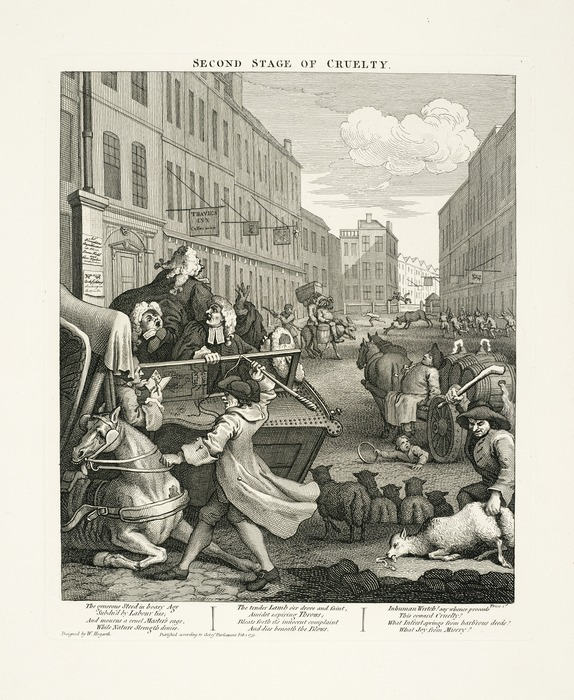 Hogarth, William, 1697-1764 :[The four stages of cruelty]. Second stage of cruelty. Design'd by W Hogarth. Publish'd according to Act of Parliament Feb 1 1751. Price 1s.