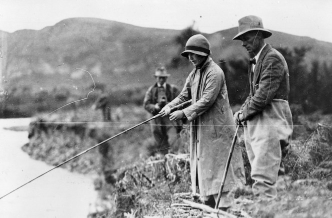 Duke and Duchess of York, trout fishing in Taupo during their 1927 tour