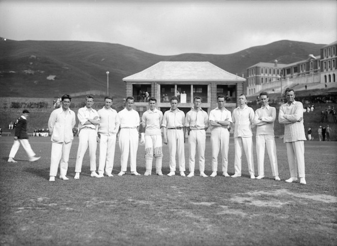 Unidentified members of a cricket team at Wellington College