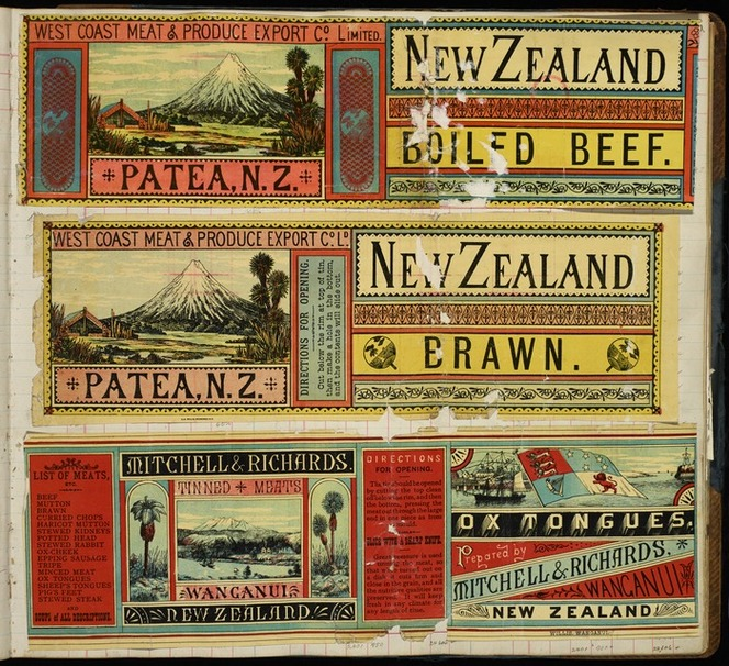 A D Willis (Wanganui) :[Three labels - West Coast Meat & Produce Export Co Ltd (Patea). New Zealand boiled beef, and New Zealand brawn; and, Mitchell & Richards Tinned Meats, Wanganui. Ox tongues. 1890-1920].