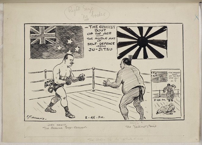 Hiscocks, Ercildoune Frederick, fl 1899-1940s :The greatest bout of the age. The noble art of self-defence versus ju jitsu. Joey Ward. The Awarua eye-opener. Nogi. The yellow peril. The hope of the white race. [1911]