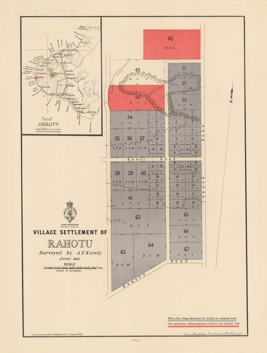 Village settlement of Rahotu [electronic resource] / surveyed by J.F. Sicely June 1881 ; drawn by R.G. Begley.