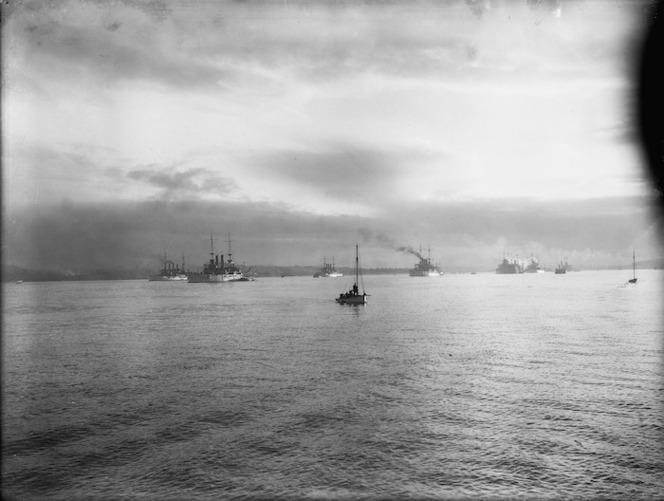 Ships of the American fleet (Great White Fleet) on Waitemata Harbour, Auckland