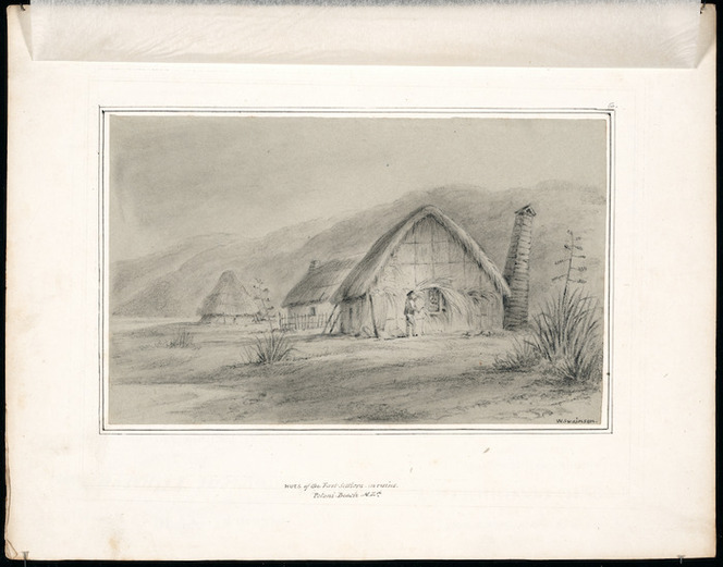 Swainson, William, 1789-1855 :Huts of the first settlers in ruins. Petoni Beach, N.Zd. [ca 1846]