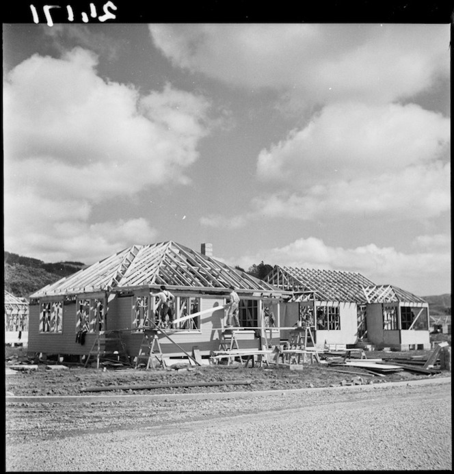 State houses under construction, Naenae, Lower Hutt