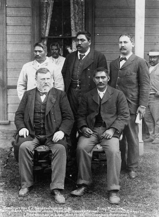 Richard Seddon with Maori leaders at Huntly - Photograph taken by Beattie and Sanderson