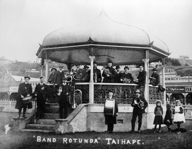Members of a brass band gathered in the band rotunda in Taihape