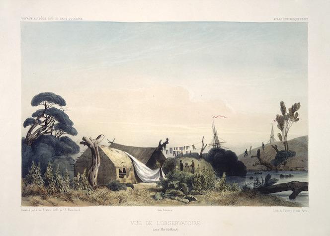 Le Breton, Louis Auguste Marie 1818-1864 :Vue de l'observatoire aux Iles Aukland / dessine par L. Le Breton ; lithe par P. Blanchard - Paris ; Gide Editeur [1846]