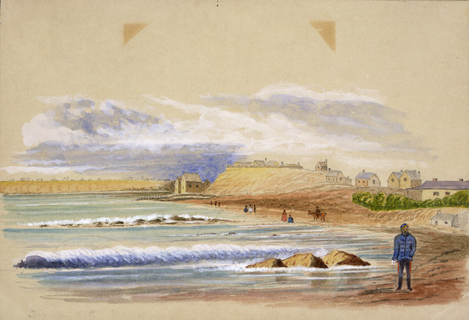 Hamley, Joseph Osbertus, 1820-1911 :Taranaki, Mount Eliot in centre, landing place at base, New Plymouth [July 1864]