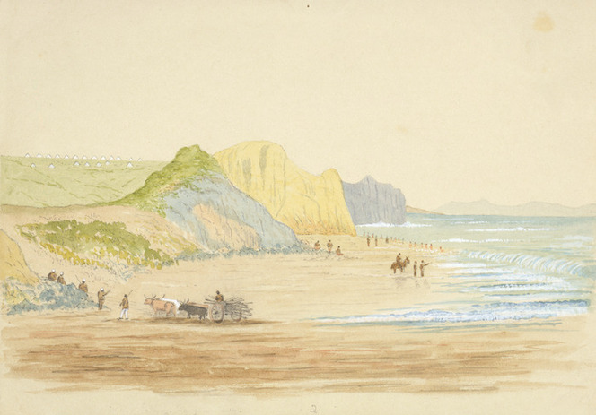 Hamley, Joseph Osbertus, 1820-1911 :Soldiers bathing. Wanganui Beach [January 1865?]