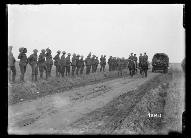 The Prince of Wales visits New Zealand troops, World War I, Beauvois
