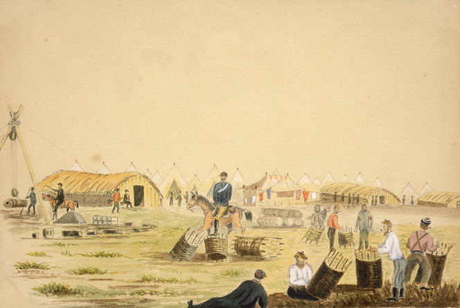 Hamley, Joseph Osbertus, 1820-1911 :Soldiers making gabions, Pukerimu, Waikato [April? 1864]