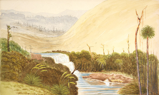 Hamley, Joseph Osbertus, 1820-1911 :[Sandhills and waterfall near Tauranga. 1864?]