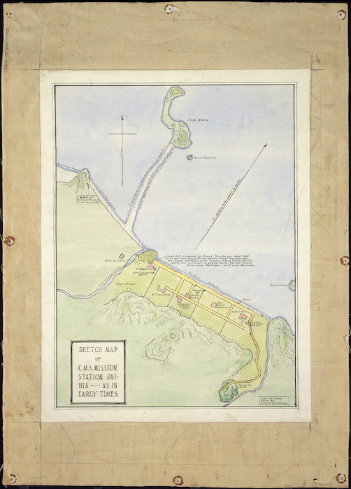 [Fairburn, Edwin, 1827-1911] :Sketch map of CMS Mission Station Paihia - as in early times [ms map]. [n.d.]