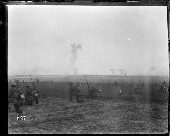 World War 1 New Zealand troops during training in Belgium, rehearsing the attack on Messines