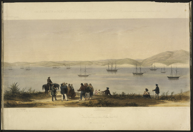 Smith, William Mein 1799-1869 :The harbour of Port Nicholson and the town of Wellington (sketched in the middle of the year 1842). [central portion].