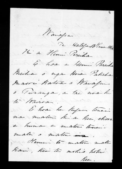 Letter from Mokena and Mohi Turei to Hemi Pereiha