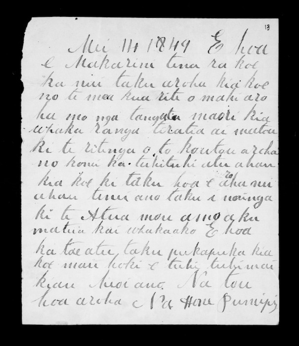Letter from Hone Pumipi to McLean