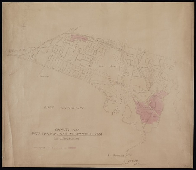 [New Zealand. Department of Lands and Survey :Locality plan, Hutt Valley settlement area [copy of ms map with annotations]. [ca.1943]