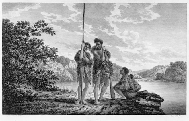 Hodges, William 1744-1797 :Family in Dusky Bay, New Zeland, drawn from nature by W Hodges ; engrav'd by Lerperniere - London ; Strahan 1777