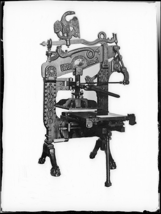 Creator unknown: Photograph of the Columbian printing press formerly owned by William Colenso, taken by Trevor Ulyatt