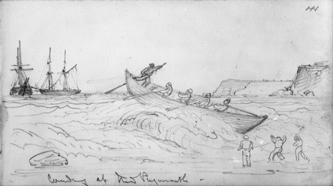 Warre, Henry James, 1819-1898 :Landing at New Plymouth [1864]