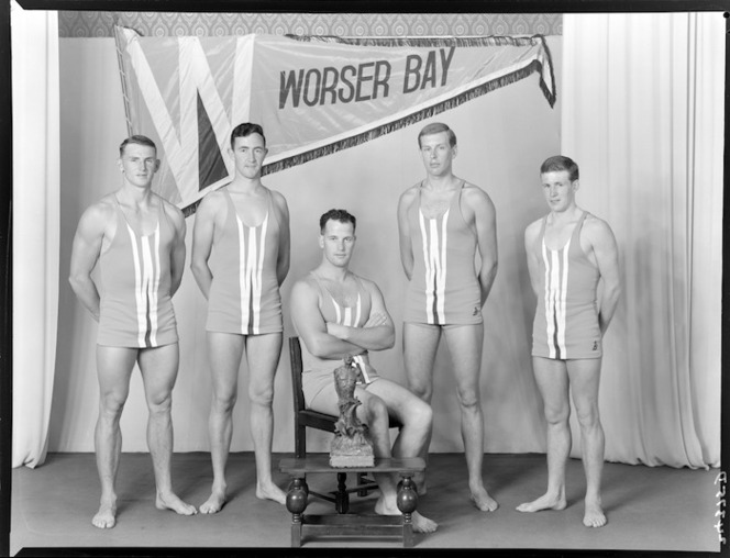 Worser Bay Surf Life Saving Club, Wellington, team of 1962, with Cook Strait trophy