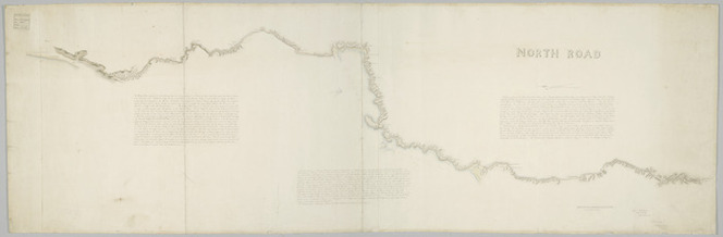 Fitzgerald, Thomas Henry, 1824-1888: North Road [ms map]. [Johnsonville to near Paekakariki] (signed) A.H. Russell, Captn 58th Reg[imen]t, Sup[erintenden]t of Mil[itar]y Roads [1849].
