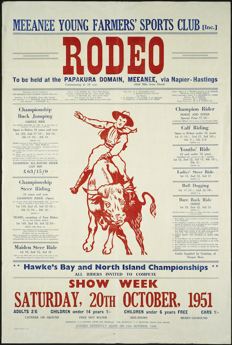 Meeanee Young Farmers' Sports Club (Inc.) :Rodeo to be held at the Papakura Domain, Meeanee, via Napier-Hastings. Show week, Saturday 20th October, 1951.