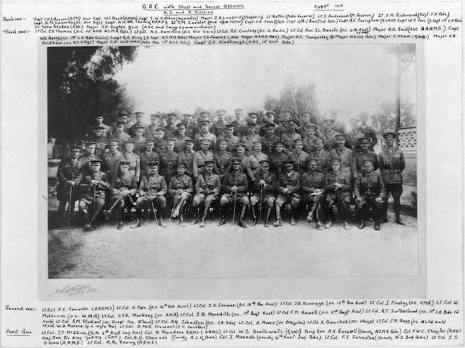 Group portrait of GOC Godley with officers of New Zealand and Australian Division, 1915.