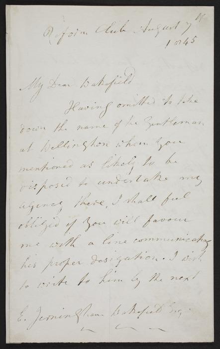 Wakefield, Edward Jerningham, 1820-1879 : Inward letter from Robert Torrens
