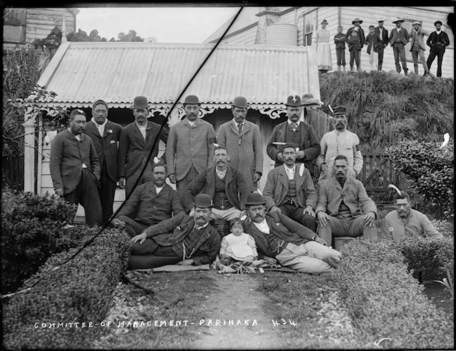 Management Committee, Parihaka Pa. Collis, William Andrews, 1853-1920 :Negatives of Taranaki. Ref: 10x8-1752-G. Alexander Turnbull Library, Wellington, New Zealand. http://natlib.govt.nz/records/22727187