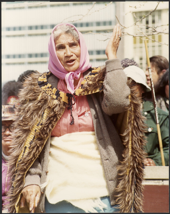 Photograph of Whina Cooper in Hamilton during the Maori Land March