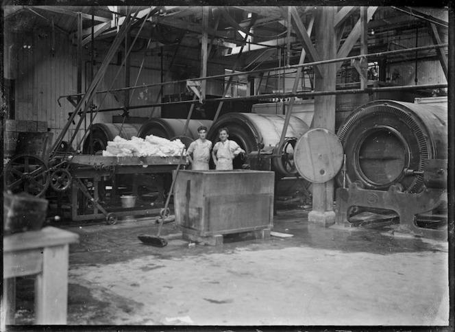 Inside a butter factory at Waitoa, near Te Aroha, 1921