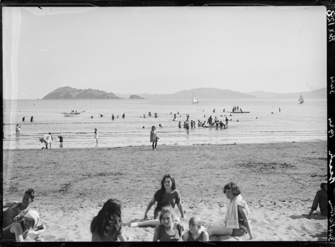 People at Petone beach, Lower Hutt