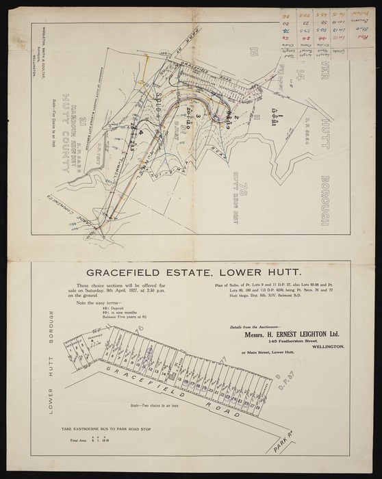 [Creator unknown] :[Roads and tunnels at Gracefield, Lower Hutt] [map with ms annotations]. Middleton, Smith & Coulter, surveyors, Wellington, [1927]