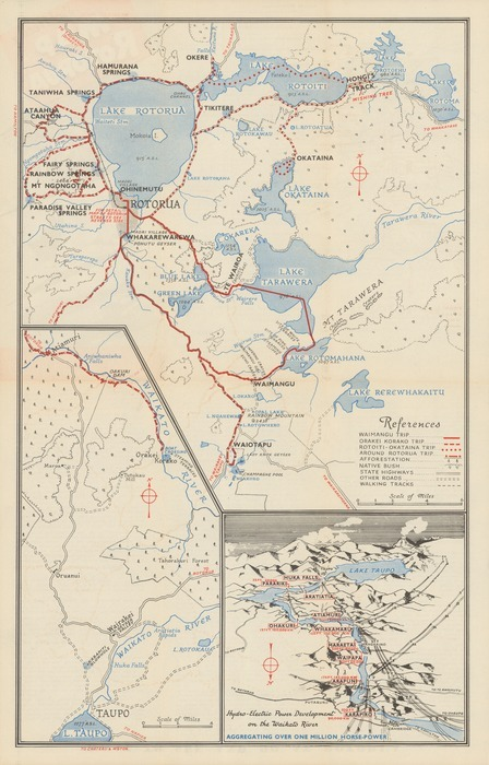 New Zealand Sightseeing Map.Sightseeing Map Of Rotorua New Zeala Items National Library
