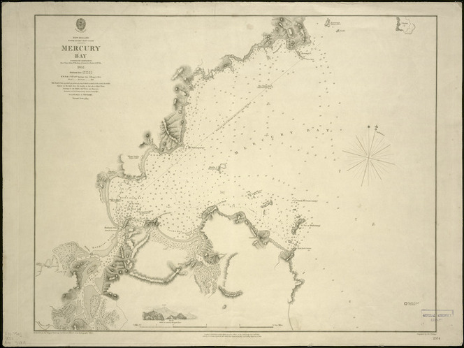 Mercury Bay [cartographic material] / surveyed by Comr. B. Drury 1852 ; reduced from the original drawings by Edward J. Powell of the Hydrographic Office ; engraved by J. & C. Walker.