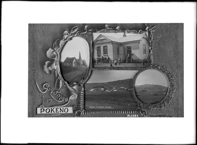 Postcard with images of Pokeno