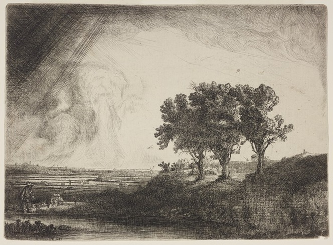 [Rembrandt Harmenszoon van Rijn] 1606-1669 :The three trees. 1643. [Etched by Richard Byron, after Rembrandt Harmensz van Rijn. 1777]