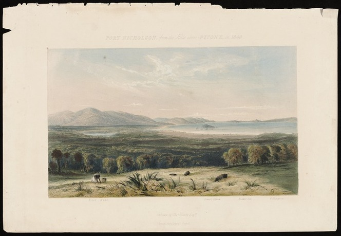 Heaphy, Charles 1820-1881 :Port Nicholson from the hills above Pitone in 1840 / drawn by Chas. Heaphy Esqre. London, Smith Elder & Co., [1845]