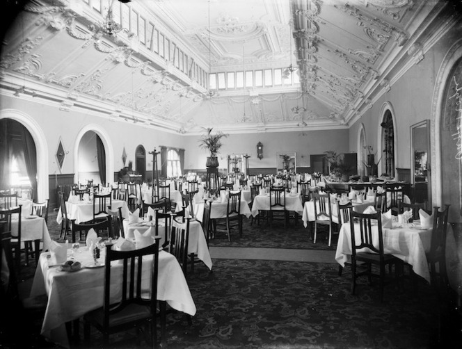 Dining room, Warners Hotel, Cathedral Square, Christchurch
