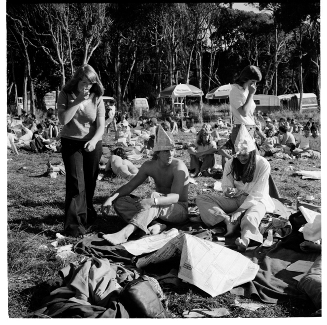 Patrons possibly at the Waikino Music Festival in January 1977