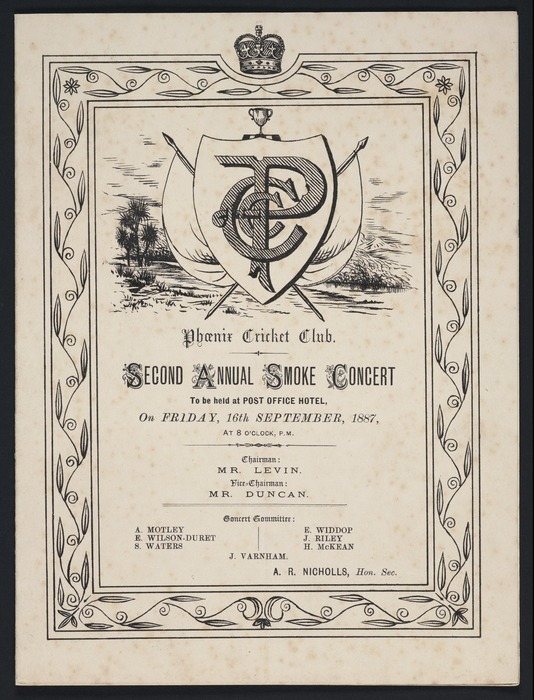 Phoenix Cricket Club :Second Annual Smoking Concert, to be held at Post Office Hotel, on Friday, 16th September, 1887. [Programme].