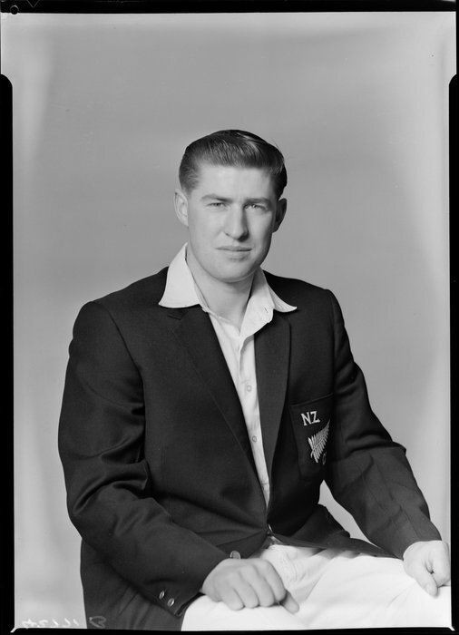 Mr R C Motz, member of the New Zealand Cricket Singles Team, South African tour, 1961. Crown Studios Ltd :Negatives and prints. Ref: 1/2-193760-F. Alexander Turnbull Library, Wellington, New Zealand. http://natlib.govt.nz/records/22898629
