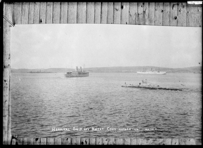 Hospital ship off Anzac Cove, Gallipoli - Photograph taken by J M