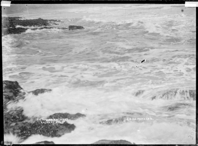 """The breakers"", west coast, near Raglan, 1910 - Photograph taken by Gilmour Brothers"