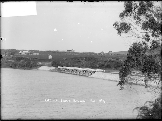 Opotoru Bridge, Raglan Harbour - Photograph possibly taken by Gilmour Brothers