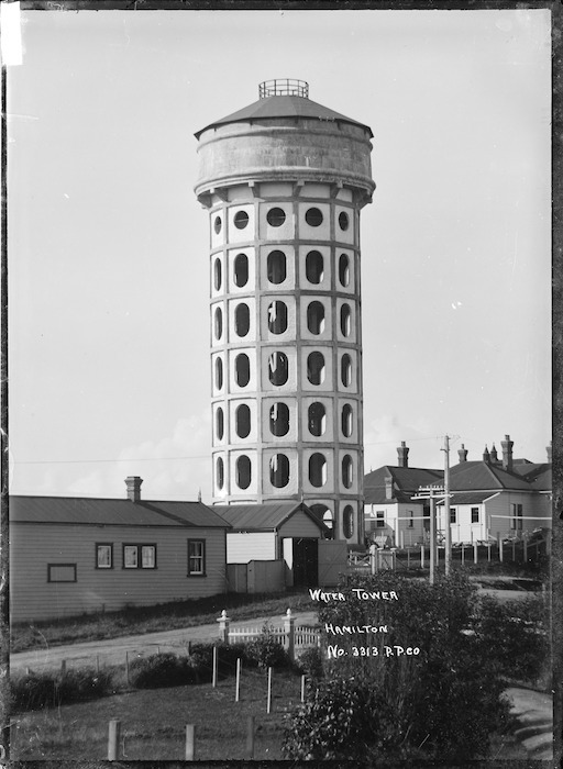 View of the water tower at Hamilton, circa 1910s