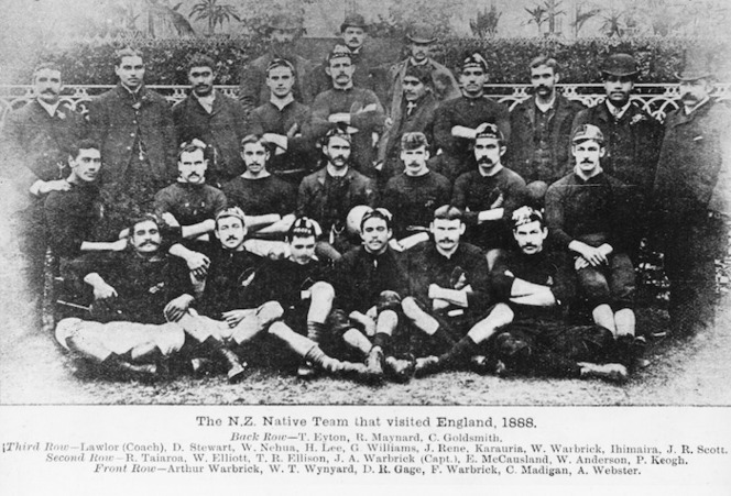 Creator unknown : Photograph of rugby players in the 1888 New Zealand Native Team